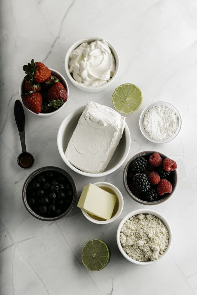 Overhead view of separate ingredients in small bowls.