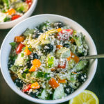 Easy Low Carb Greek Artichoke Cauliflower Rice Salad from Lauren Kelly Nutrition #keto #lowcarb