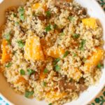 This Mushroom and Squash Quinoa Risotto is delicious and simple to make. It's also healthy, gluten-free and a huge crowd pleaser! www.laurenkellynutrition.com