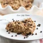 This Peanut Butter Chocolate Chip Baked Oatmeal takes minutes to prepare, is insanely delicious and tastes like a big, oatmeal cookie! #glutenfree #vegan #dairyfree